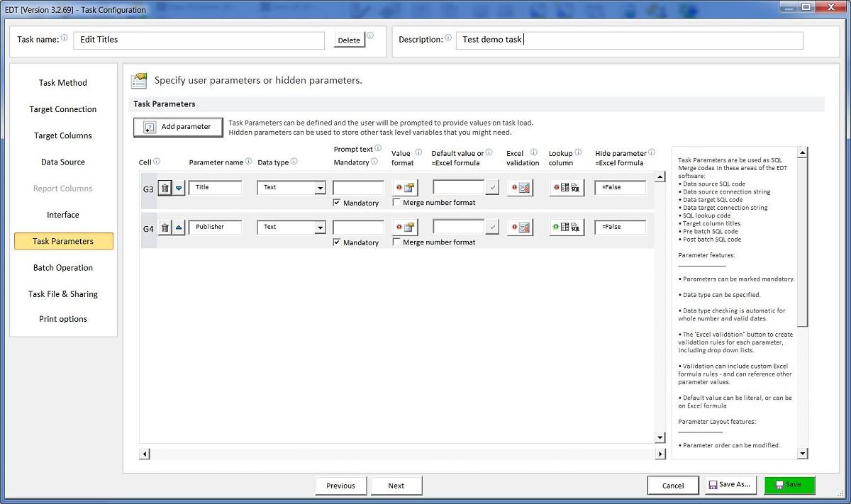 Task parameters