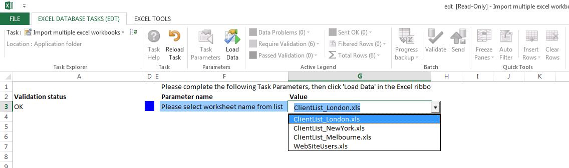 Import multiple workbooks to SQL Database choose file
